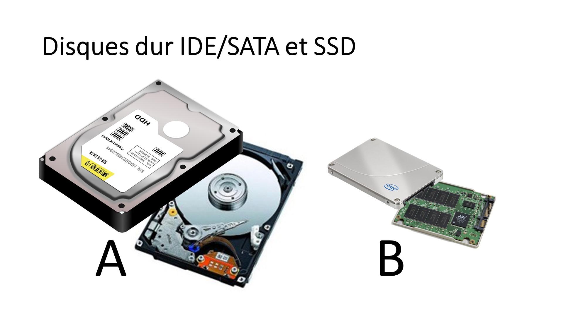 Disques durs IDE/SATA et SSD